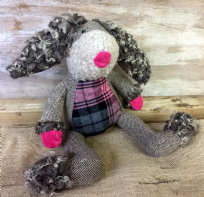 Quirky Floppy Ear Shaggy Hare Soft Toy Decoration ~ Pink Tartan